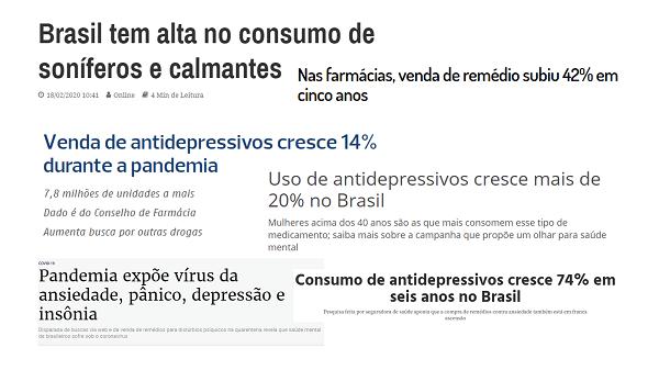 Manchetes de jornais sobre o consumo de remédios no Brasil - Fitoenergética.