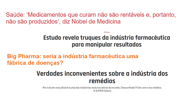 Várias manchetes ilustram títulos sobre a indústria farmacêutica e o uso de remédios - Fitoenergética.