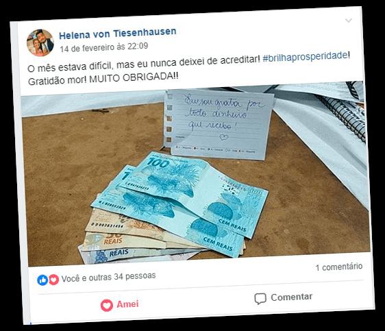 Depoimento de Helena von Tiesenhausen no Facebook contando que nunca deixou de acreditar e foto de notas de dinheiro sobre a mesa
