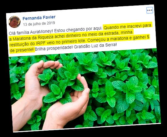 Depoimento de Fernanda Favier no Facebook contando como a Maratona da Riqueza a ajudou e foto de Mãos em uma plantação de hortelã