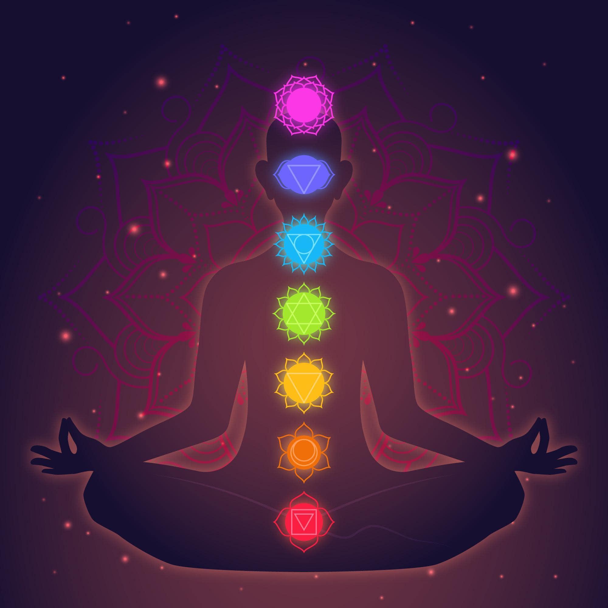 Locais de cada chakra em pessoa sentada em posição de meditação