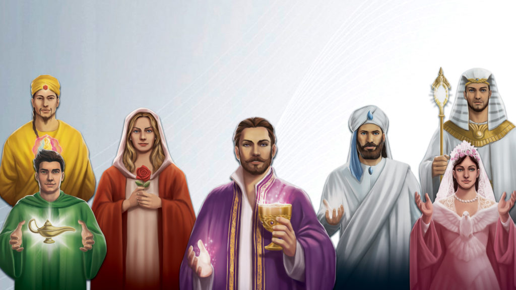 Os sete mestres da Fraternidade Branca: El Morya, Confúcio, Rowena, Serapis Bey, Hilarion, Nada e Saint Germain